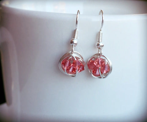 Petite Dangle Series - Dangling Wire Wrapped Earrings with Pink Swarovski Crystal Beads