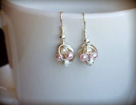 Sweetheart Series - Petite Dangle Earrings with Pink / White Glass Pearls and Stardust Beads