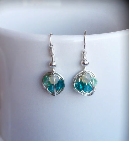 Petite Dangle Series - VDazzled Dangling Wire Wrapped Earrings with Sea Colored Swarovski Crystal Beads