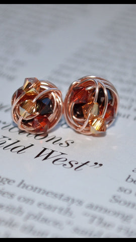 Signature Fall Series - VDazzled Handmade Wire Wrapped Rose Gold Stud Earrings - Made with Autumn colored Swarovski Crystals