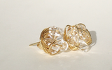 Signature Gold Diamond Series- Gold plated wire and Clear Swarovski Crystal wire wrapped Stud Earrings