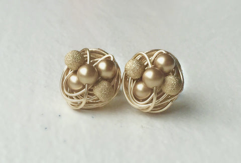 Gold on Gold Mix it up Series - VDazzled Gold Wire Wrapped Studs - Swarovski Glass Pearl stud earrings with Gold Stardust Beads