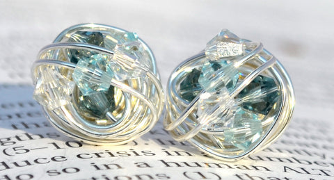 V*Dazzled Ice Series - Wire Wrapped Stud Earrings with blue and clear swarovski crystal beads
