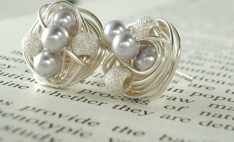 Lavender/Star Dust - Swarovski Pearl and Silver Stardust bead Wire Wrapped Stud Earrings - VDazzled