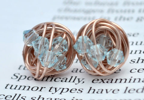 V*Dazzled Light blue Crystal- Rose Gold Series- light azore Swarovski crystal beads and Rose gold Wire Wrapped Stud Earrings
