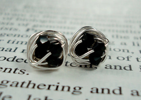 V*Dazzled Wire Wrapped NANO Stud Earrings- Jet / Black Swarovski Crystal Beads on Silver Wire