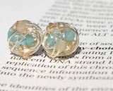 V*Dazzled Pacific Sand Silver Series- Signature Wire Wrapped Stud Earrings with tan and blue swarovski crystal beads