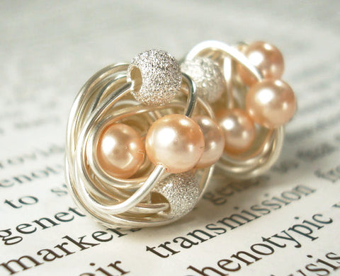 VDazzled Peach/Star Dust - Swarovski Pearl and Stardust bead Wire Wrapped Stud Earrings