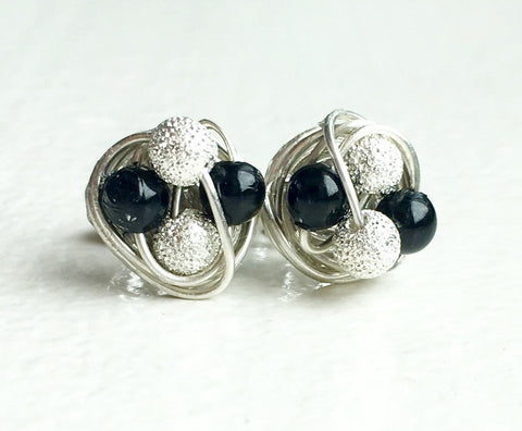 Petite Black Pearl/Stardust Studs - Mix It Up Series - Swarovski Glass Pearl and Stardust bead Wire Wrapped VDazzled Stud Earrings