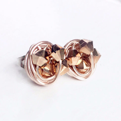 Petite Rose Gold Series - Handmade Rose Gold Swarovski crystal beads and Rose Gold Wire Wrapped Stud Earrings - Vdazzled rose gold studs