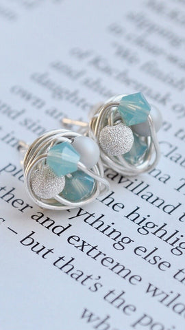 Frozen Series - Petite Stud Earrings with Blue Swarovski Beads, Gray Glass Pearls / Stardust Beads