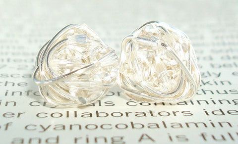 V*Dazzled Petite Diamond in the Wire Series- Wire Wrapped Studs - Clear Swarovski Crystal Bead and Silver wire Stud Earrings