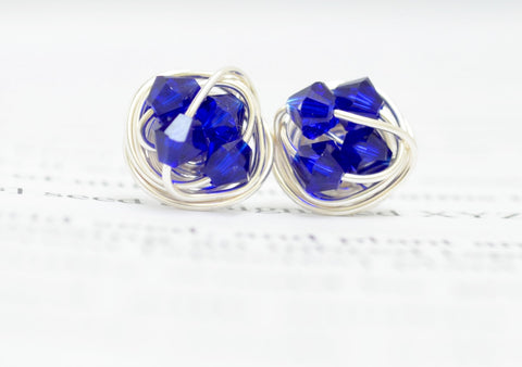 Petite Bold Series- VDazzled Wire Wrapped Stud Earrings with Cobalt Blue Swarovksi crystal beads and Sterling Silver Filled Wire