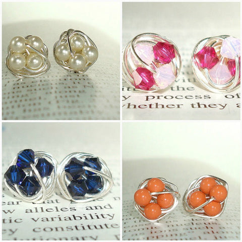 V*Dazzled Customize Your Own Pair of Petite Wire Wrapped Stud Earrings / Post Earrings - Swipe left to see custom color options