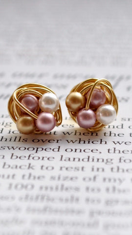 Petite Elegance Collection - VDazzled Gold Wire Wrapped Classy Stud Earrings with Pink, White, and Gold Swarovski Glass Pearls