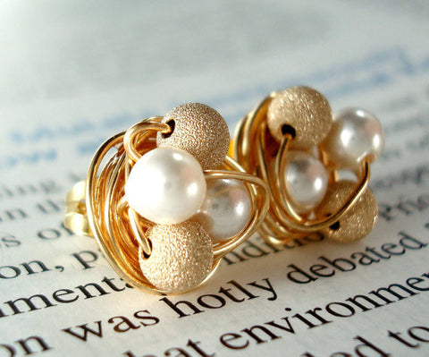 Petite white pearl / gold Stardust - Swarovski Pearl and Stardust bead Wire Wrapped Stud Earrings