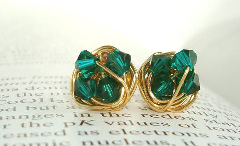 VDazzled Oz Series - Emerald / Green Swarovski Crystals and Gold wire wrapped Stud Earrings - Petite