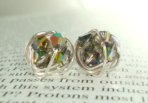 VDazzled Illusion Series - Vitrail Swarovski Crystal and Silver wire wrapped Petite Stud Earrings