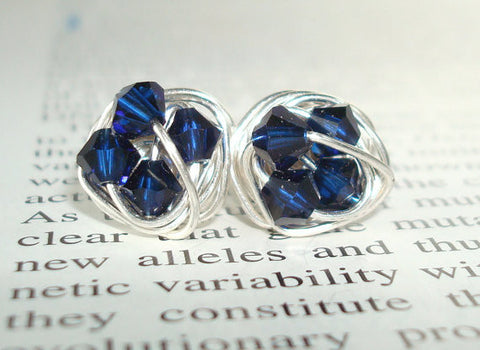 V*Dazzled Petite Midnight Series- Signature Wire Wrapped Stud Earrings with Dark Indigo Blue swarovksi crystal beads