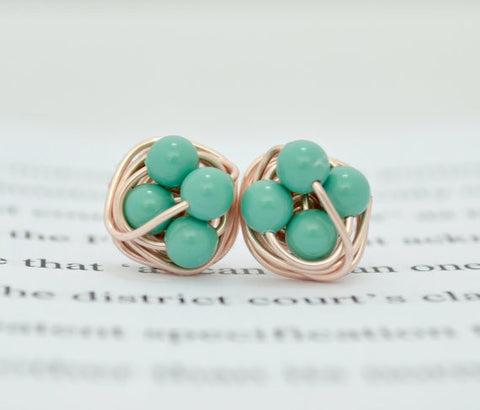 Petite Jade pearl - Rose Gold Series- Jade Green Swarovski pearl beads and Rose gold Wire Wrapped VDazzled Stud Earrings