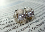 Petite Lavender/Star Dust - Swarovski Pearl and Stardust bead Wire Wrapped Stud Earrings