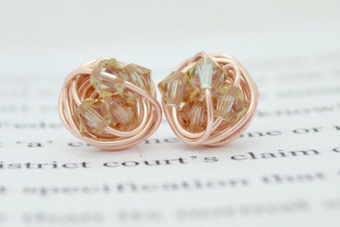 VDazzled Petite luminous green crystal - Rose Gold Series- luminous green Swarovski crystal beads and Rose gold Wire Wrapped Stud Earrings