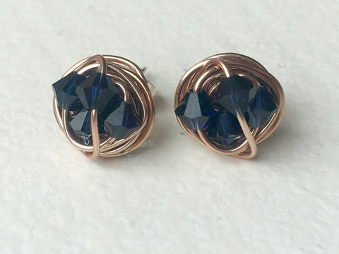 Indigo Crystal - Petite Rose Gold Series- VDazzled Dark Blue Swarovski crystal beads and Rose gold Wire Wrapped Stud Earrings Active
