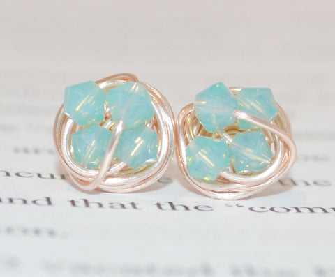 Petite Pacific Opal crystal - VDazzled Rose Gold Series- Swarovski crystal beads and Rose gold Wire Wrapped Stud Earrings Active