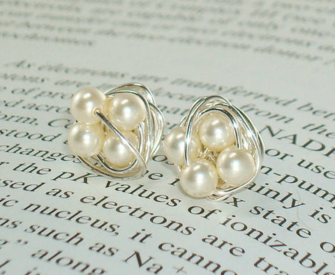 V*Dazzled Petite Elegance Stud Earring Collection Cream - Wire Wrapped Stud Earrings - Cream Swarovski Glass Pearl Beads