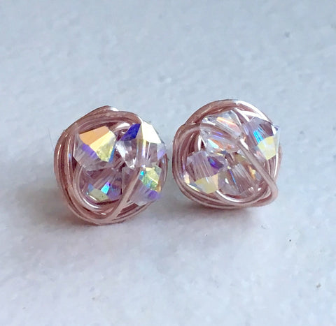 Rose Gold Alabaster Sparkle Series in Rose Gold- Petite Crystal AB Swarovski crystal beads and Rose Gold Wire Wrapped VDazzled Stud Earrings