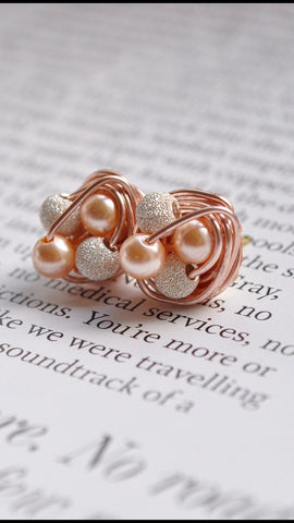 Petite Mix it Up Series - Rose Gold Wire Stud Earrings With Stardust Beads / Peach Glass Pearls