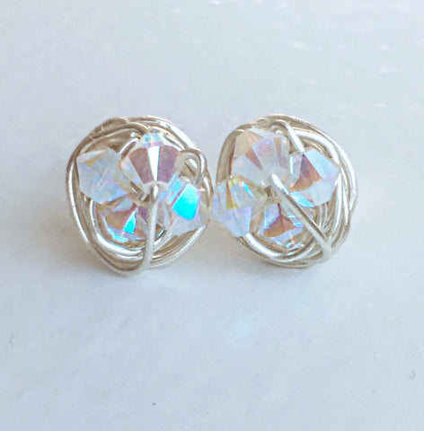 Alabaster Sparkle Studs - Petite White Opal Swarovski crystal beads and Sterling Silver filled Wire Wrapped VDazzled Stud Earrings