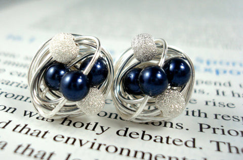 VDazzled Navy/Star Dust Stud Earrings - Navy Blue Swarovski Pearl and Silver Stardust bead Wire Wrapped Stud Earrings