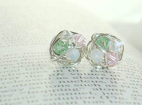 V*Dazzled Petite Love in the Garden Series- Shades of Pink and Green Swarovski Crystal Bead and Silver wire Stud Earrings