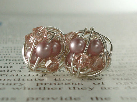 V*Dazzled Powder Rose/Vintage Rose - Mix It Up Series- Swarovski Glass Pearl and Crystal Bead Silver Wire Wrapped Stud Earrings