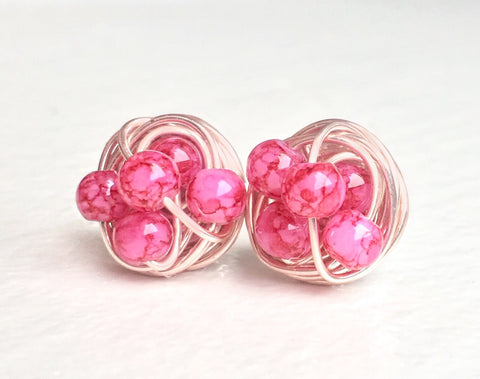 Marble Rose Gold Studs - Dark/Light Pink Marble beads and rose gold wire - VDazzled Marble glass bead wire wrapped stud earrings