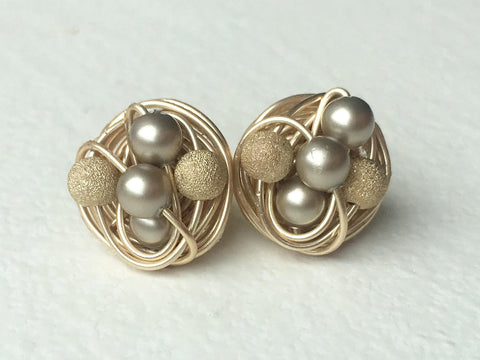 Platinum on Gold Mix it up Series - VDazzled Gold Wire Wrapped Studs - Swarovski Glass Pearl stud earrings with Gold Stardust Beads