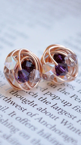 Purple Sparkle - Rose Gold Stud Earrings - Made with Purple, Mauve, and Opal Swarovski Crystal Beads