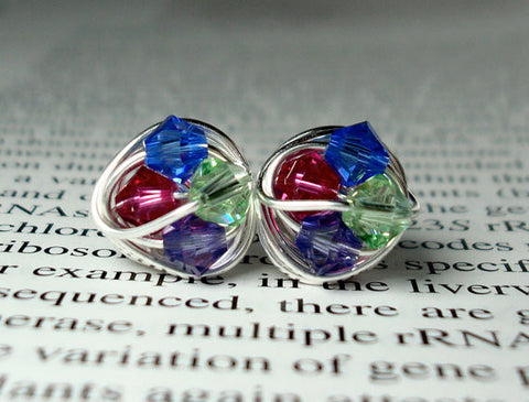 V*Dazzled Petite mini rainbow Series- Wire Wrapped Studs- Pink, blue, green, and purple Swarovski Crystal Bead Stud Earrings