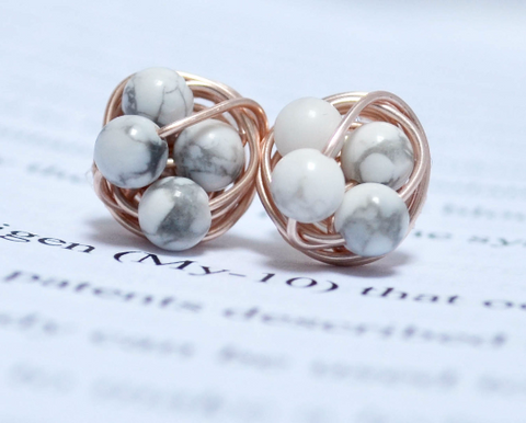 Marble and rose gold- Howlite / White Marble beads and rose gold wire- Luxe Gemstone wire wrapped petite VDazzled stud earrings