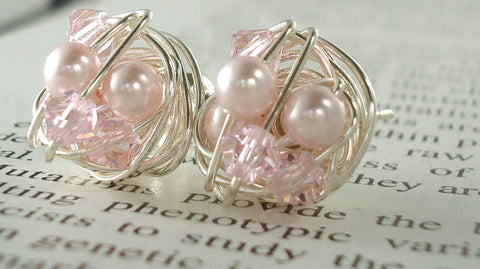 VDazzled Light Pink/Rosaline - Rosaline Swarovski Glass Pearl and Crystal Bead Stud Earrings