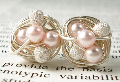 VDazzled Rosaline/Stardust - Pink Swarovski Pearl and Stardust bead Wire Wrapped Stud Earrings
