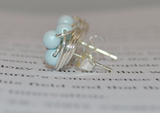 Petite Elegance Collection Pastel Blue - Sterling Silver Wire Wrapped Studs - VDazzled pastel/baby blue Swarovski Glass Pearl stud earrings