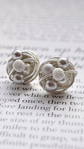 Gray / Silver / Stardust - Swarovski Glass Pearl and Stardust bead VDazzled Wire Wrapped Stud Earrings