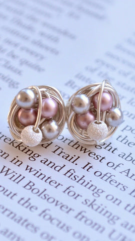 Pink / Silver / Stardust - Swarovski Glass Pearl and Stardust bead Wire Wrapped Stud Earrings