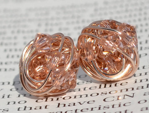 V*Dazzled Vintage Rose Crystal- Rose Gold Series- vintage rose Swarovski crystal beads and Rose gold Wire Wrapped Stud Earrings