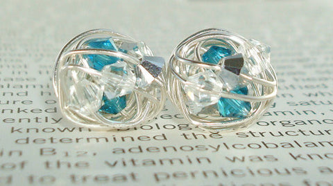 V*Dazzled Waterfall Series - Wire Wrapped Stud Earrings with teal, silver, and clear swarovski crystals
