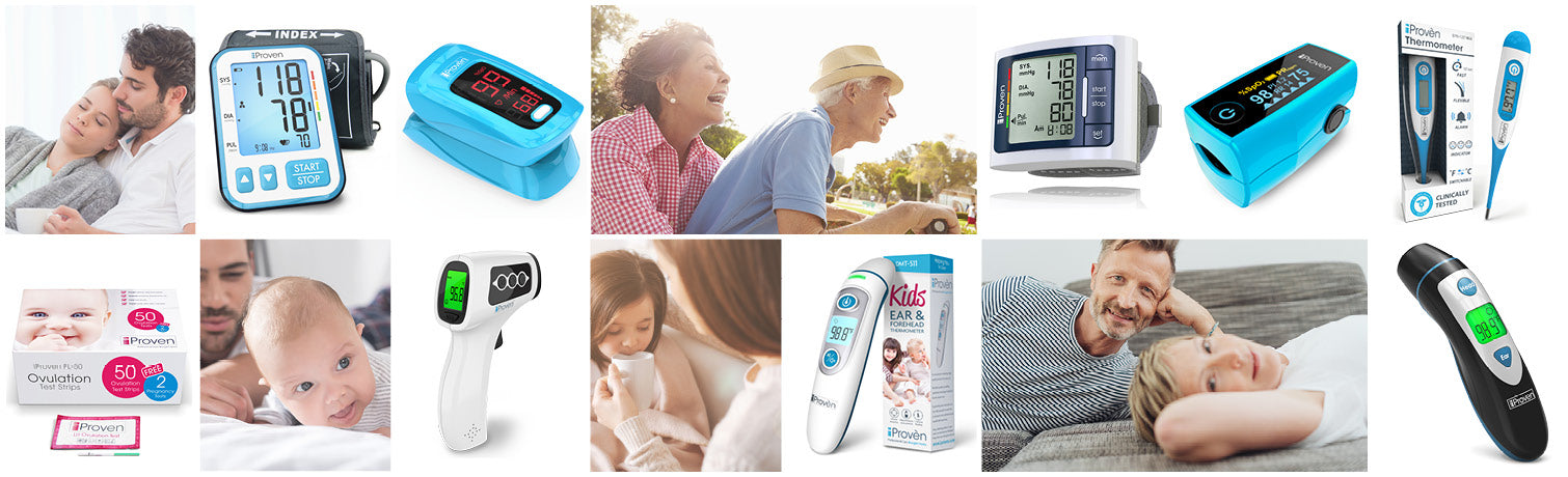 Overview of our iProven thermometer collection such as Baby thermometers, Oximeters and wide range of digital thermometers