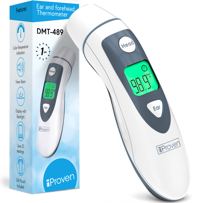 iProven DMT-489 Forehead and Ear Thermometer for Adults - Highly accurate 1-second readings - Fever Alarm - Color Temperature Indicator - Medical Thermometer for Adults, Kids and Babies