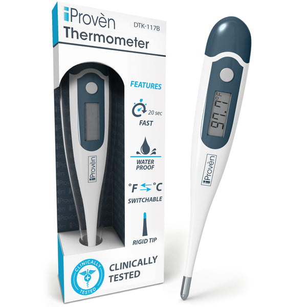 Digital Thermometer with rigid tip - Rectal (recommended), Oral and Axillary Thermometer - DTK-117B Digital thermometer iProvèn